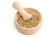 mortar and pestle with white peppercorns