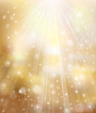 Vector glitter golden background with rays and lights.