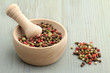 peppercorn mix on wooden table