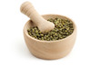 mortar and pestle with green peppercorns