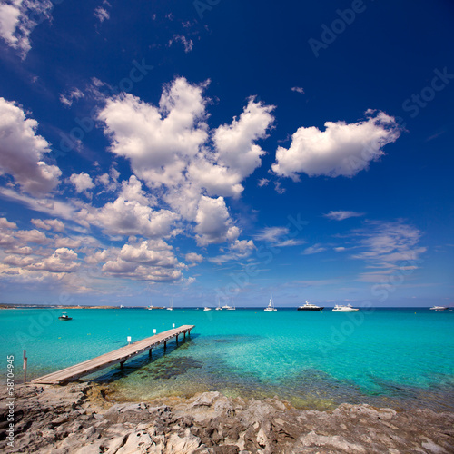 Formentera tropical Mediterranean sea wooden pier
