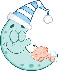 Cute Baby Boy Sleeps On Blue Moon Cartoon Characters