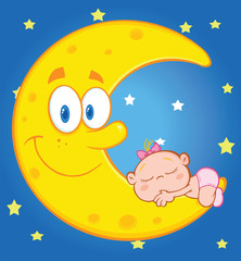 Baby Girl Sleeps On The Smiling Moon Over Blue Sky With Stars