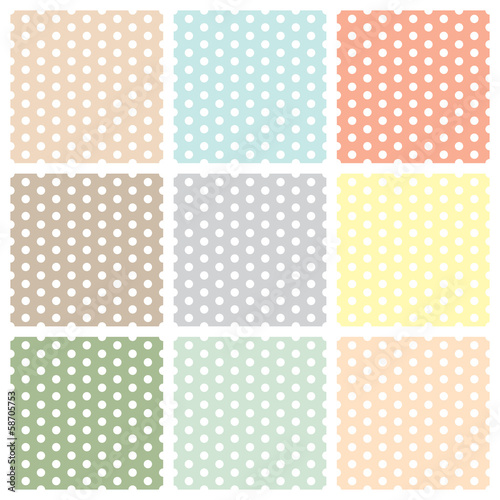 Vintage seamless polka dot patterns set