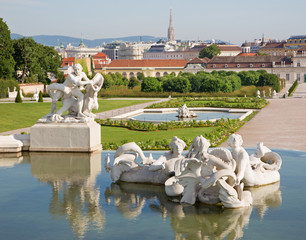Vienna - fountain of Belvedere palace and town