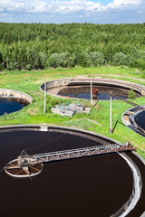 Top view of industrial sewage factory