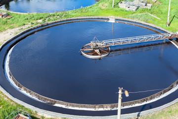 Round sewage treatment unit. Aerial view