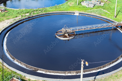 Round sewage treatment unit. Aerial view