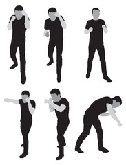 silhouettes stand for sparring - Illustration