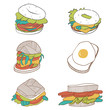 Cartoon burgers set. Fast food illustration