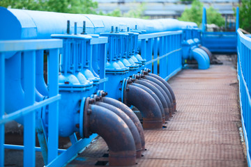 Valves on the oxygen pipes on an industrial plant