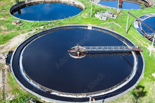 Primary sedimentation stage, sewage flows through large tanks