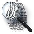 Leinwandbild Motiv Lupe, digitaler Fingerabdruck, Eins,  Null