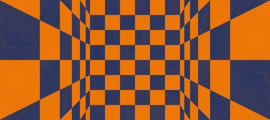 Abstract blue and orange checkered texture