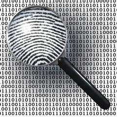 Lupe, digitaler Fingerabdruck, Eins,  Null