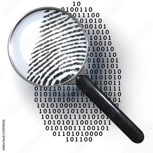 Lupe, digitaler Fingerabdruck, Eins,  Null - 58708302