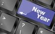 happy new year message, keyboard enter key