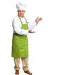 Chef inviting in restaurant.