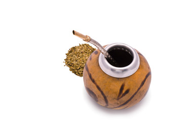Yerba Mate tea isolated on wihte