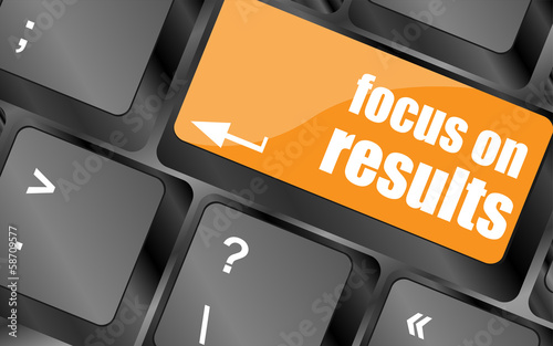 Modern keyboard focus on results text. Technology concept