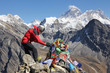 Nepal-Trekking in front of Mount Everest