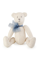 Toy handmade teddy bear on white