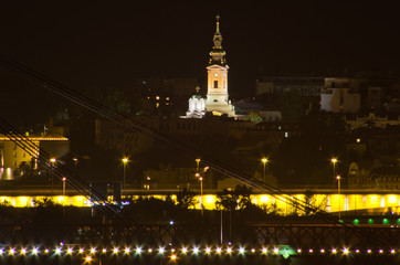 Belgrade panorama by night, Saborna church