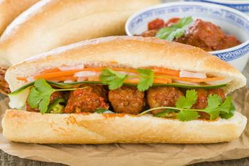 Banh Mi Xiu Mai - Vietnamese sandwich with meatballs