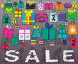 Concept of Big Sale with many little gifts and shopping bags