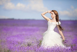 Fototapety Bride in wedding day in lavender field