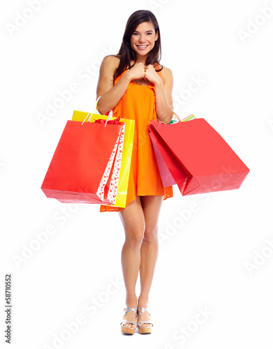 Happy shopping girl with bags.