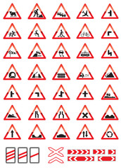 road warning signs