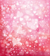Vector glitter pink background with hearts.