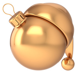 Christmas ball Happy New Year bauble gold decoration Santa Claus
