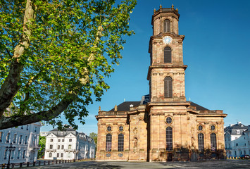 Saarbrücken - Barocke Ludwigskirche Rückseite mit Glockenturm