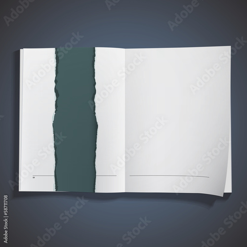 Torn piece of paper on book.