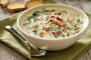 freshly baked spinach and bacon dip.