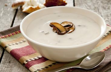 bowl of mushroom cream soup.