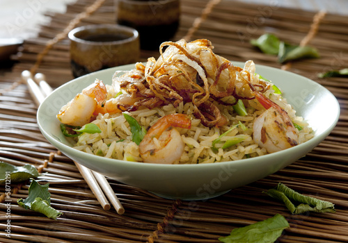 Indonesian fried rice with vegetables, shrimp