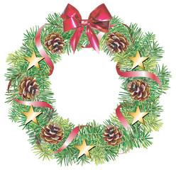 Couronne de Noël en branches de sapin.
