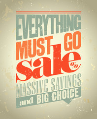 Everything must go sale poster retro style.