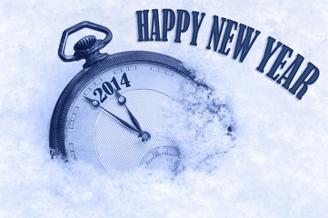 Pocket watch in snow, Happy New Year 2014 greeting card