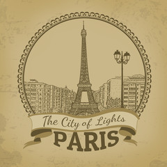 Landscape of Paris ( The City of Lights) retro poster