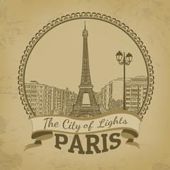 Landscape of Paris ( The City of Lights) retro poster
