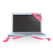 Modern laptop with red ribbons.