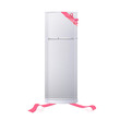 Realistic refrigerator with red ribbons.