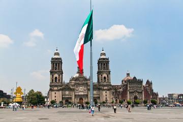 The Zocalo or Plaza de la Constitución flag, Mexico