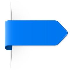 Langer blauer Sticker Pfeil mit Schatten und Textfreiraum