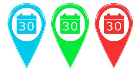 Iconos o marcadores en mapas con símbolo de calendario
