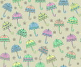 Colorful flower umbrella seamless pattern